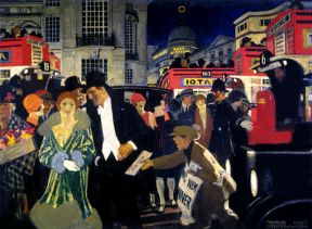 Painting of Piccadilly, London, Poster Art Print 1926